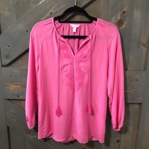 Lilly Pulitzer Embroidered Blouse Size XS